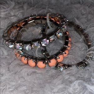 NWOT Rhinestone and Coral Bracelet Set (3)